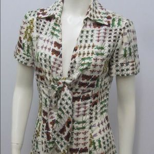Gucci Tops - Gucci 100% silk insect pattern blouse